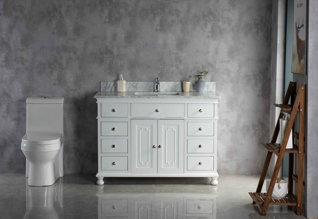 Rubeza 1200mm Didim Vanity Unit Carrara Marble Top - White & Chrome
