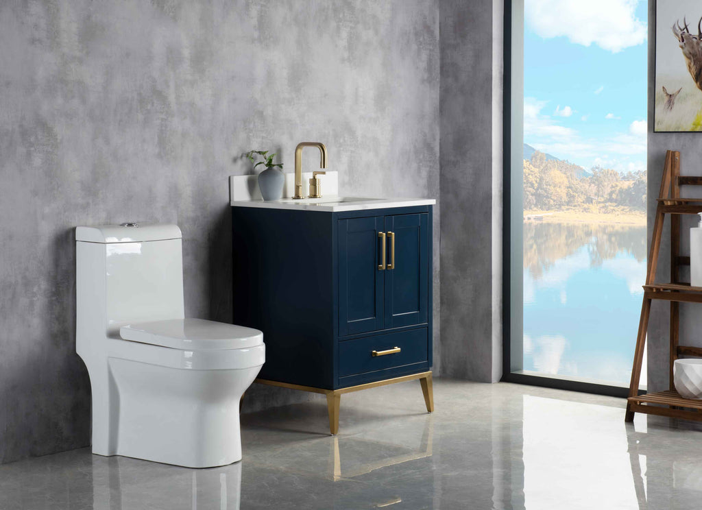 Rubeza 600mm Anatolia Vanity Unit , Quartz Top - Dark Blue & Gold