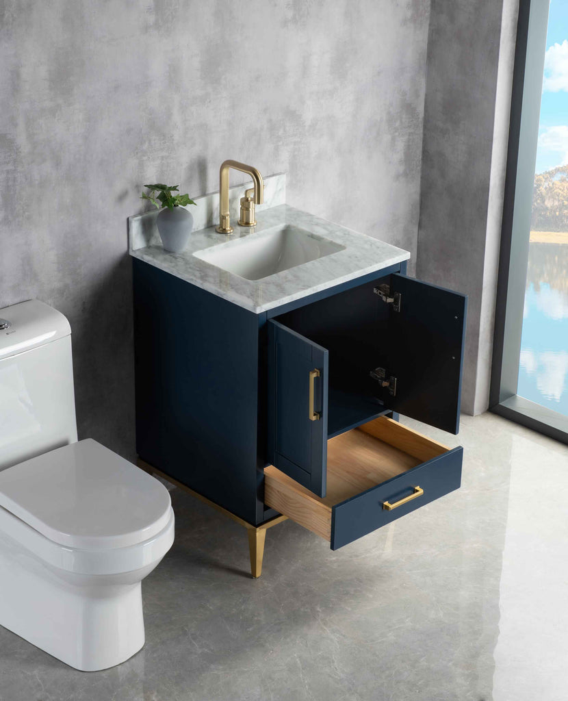 Rubeza 600mm Anatolia Vanity Unit , Carrara Marble Top - Dark Blue & Gold