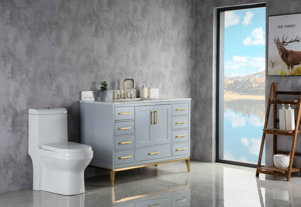 Rubeza 1200mm Anatolia Vanity Unit , Carrara Marble Top - Light Grey & Gold