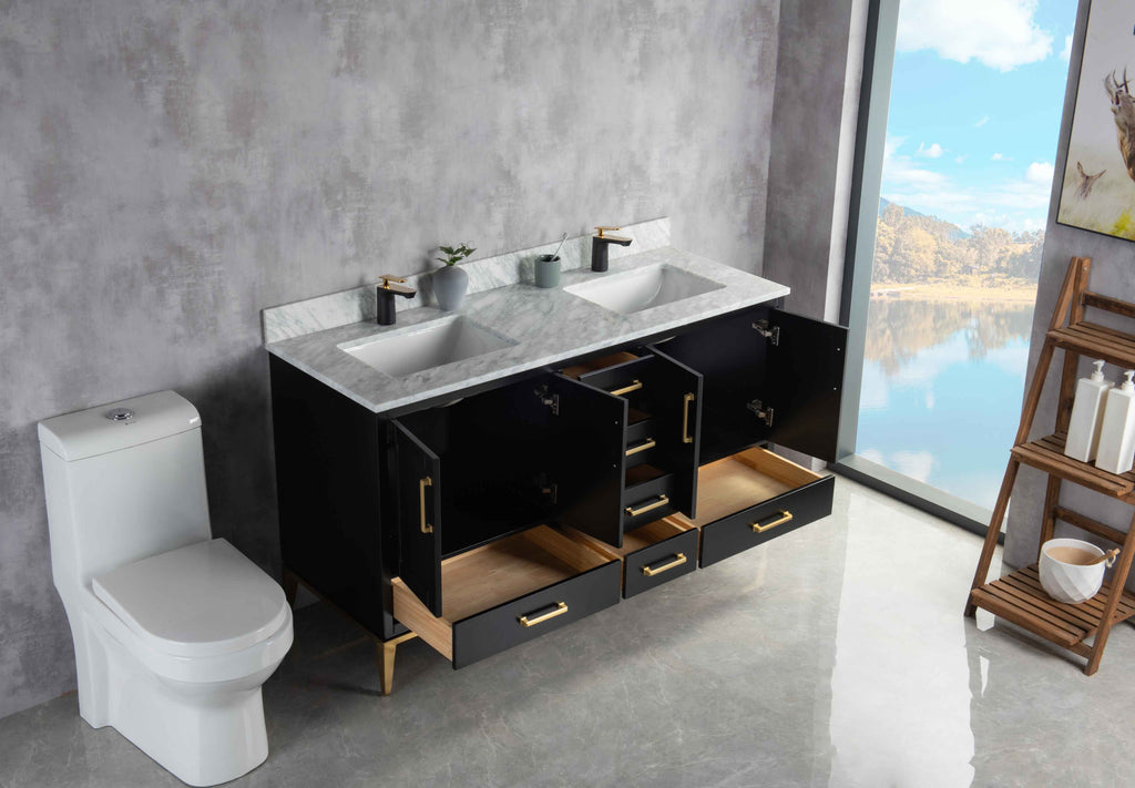 Rubeza 1500mm Anatolia Vanity Unit , Carrara Marble Top - Black & Gold