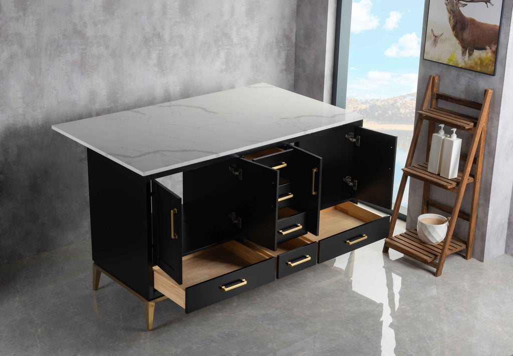 Rubeza 1500mm Anatolia Kitchen Island with Calacatta Quartz Top - Black & Gold