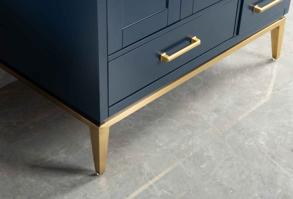 Rubeza 900mm Anatolia Vanity Unit , Quartz Top - Dark Blue & Gold