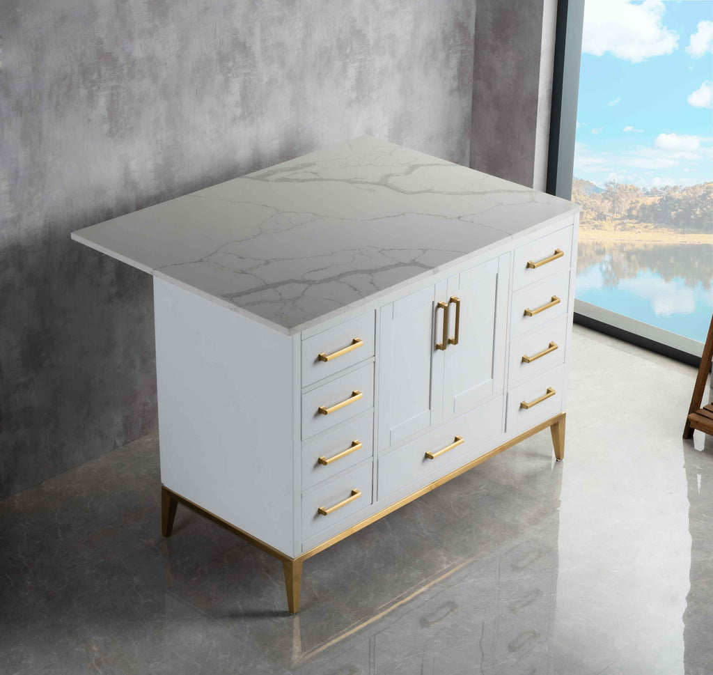 Rubeza Anatolia 1200mm Kitchen Island with Calacatta Quartz  Top - White & Gold