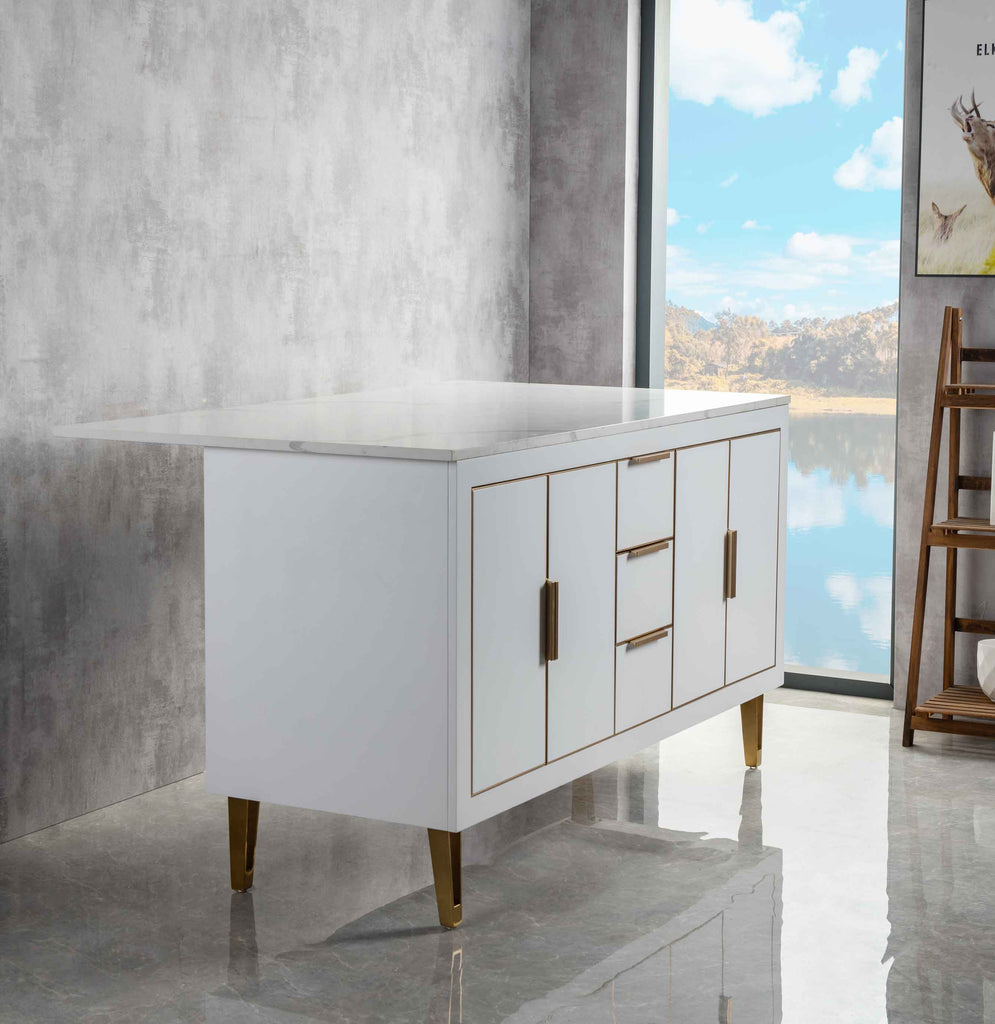 Rubeza Dukes 1500mm Kitchen Island with Calacatta Quartz Top - White & Gold