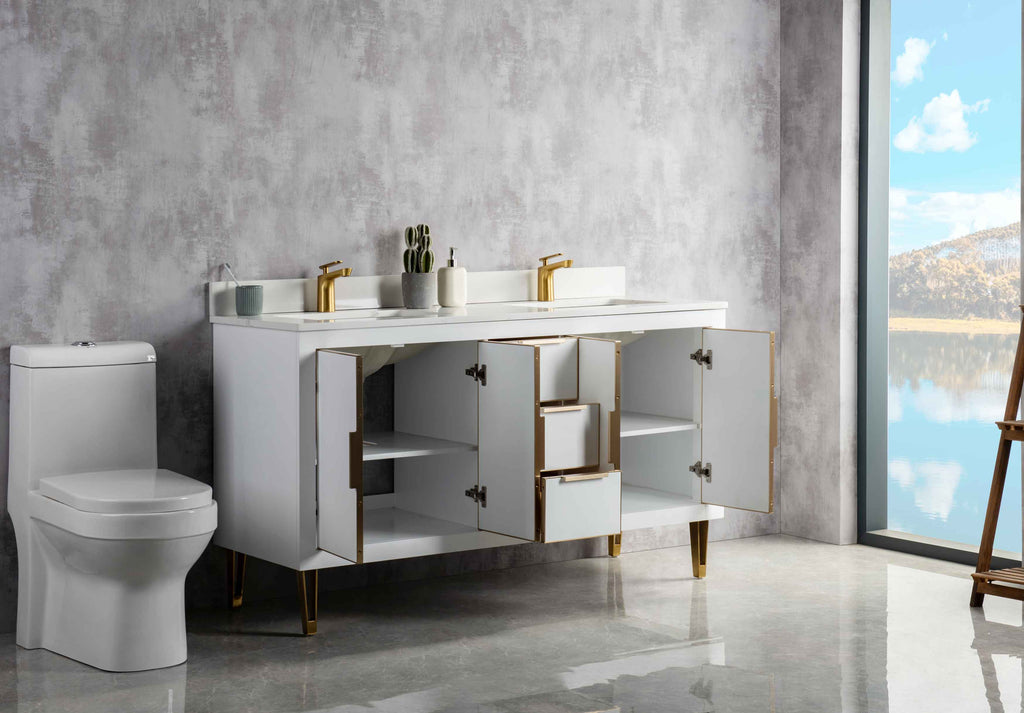 Rubeza 1500mm Dukes Vanity Unit , Calacatta Quartz Top - White & Gold