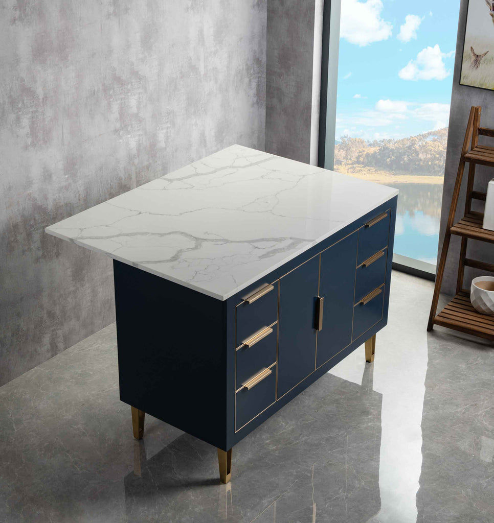 Rubeza Dukes 1200mm Kitchen Island with Calacatta Quartz Marble Top - Dark Blue