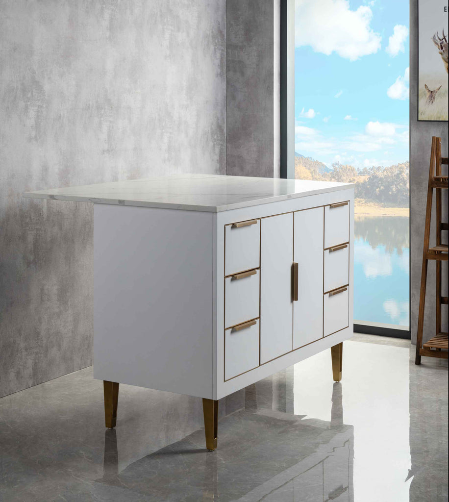 Rubeza Dukes 1200mm Kitchen Island with Calacatta Quartz Top - White & Gold