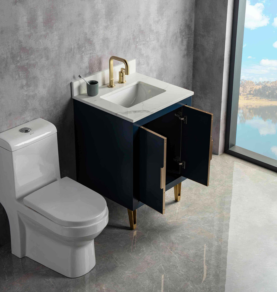 Rubeza Dukes 600mm Vanity Unit , Calacatta Quartz Top - Dark Blue & Gold