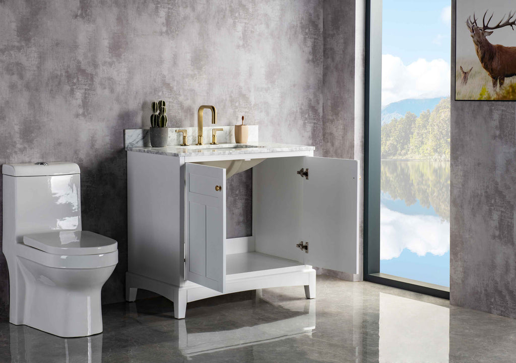 Rubeza 900mm Pergamum Vanity with Carrara Marble Top - White & Gold
