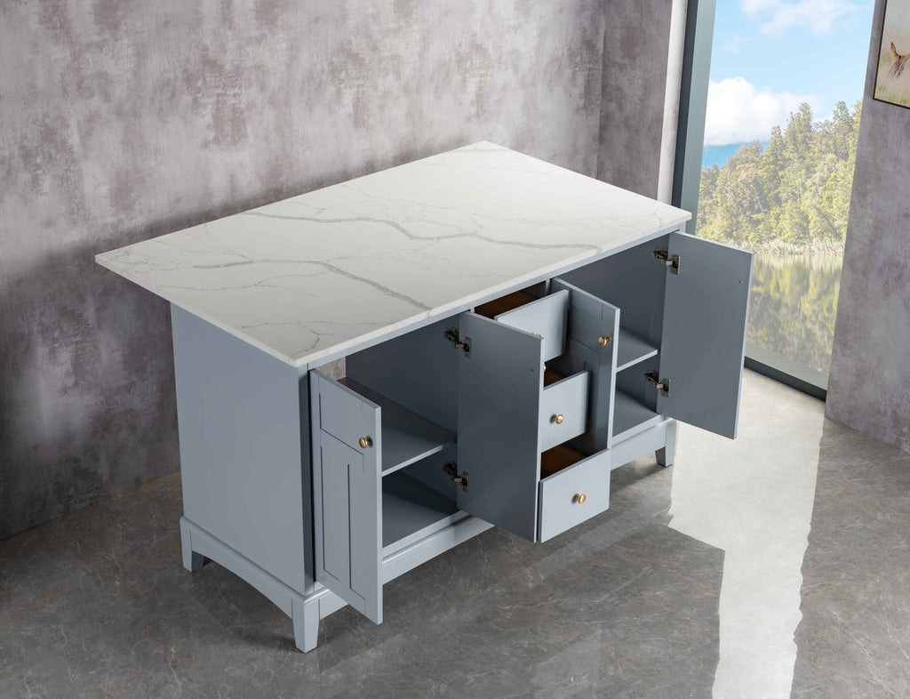 Rubeza Pergamum 1500mm Kitchen Island with  Calacatta Quartz Top - Light Grey & Gold