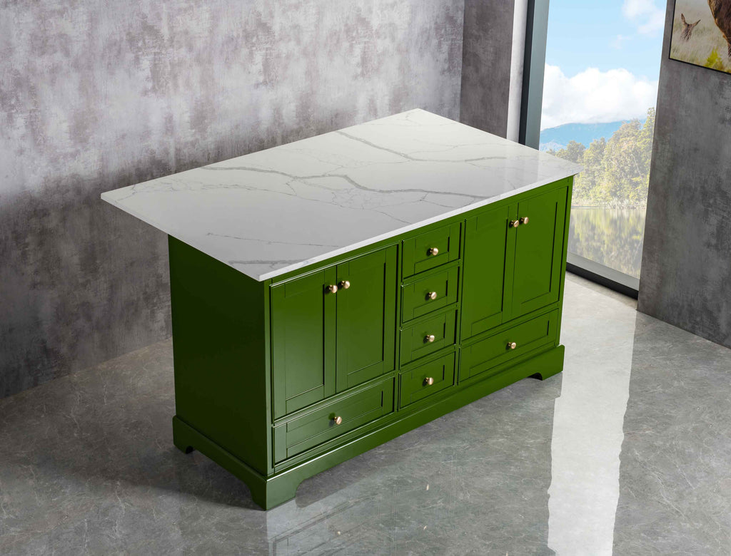 Rubeza Charleston 1500mm Kitchen Island with  Calacatta Quartz Top - Green & Gold