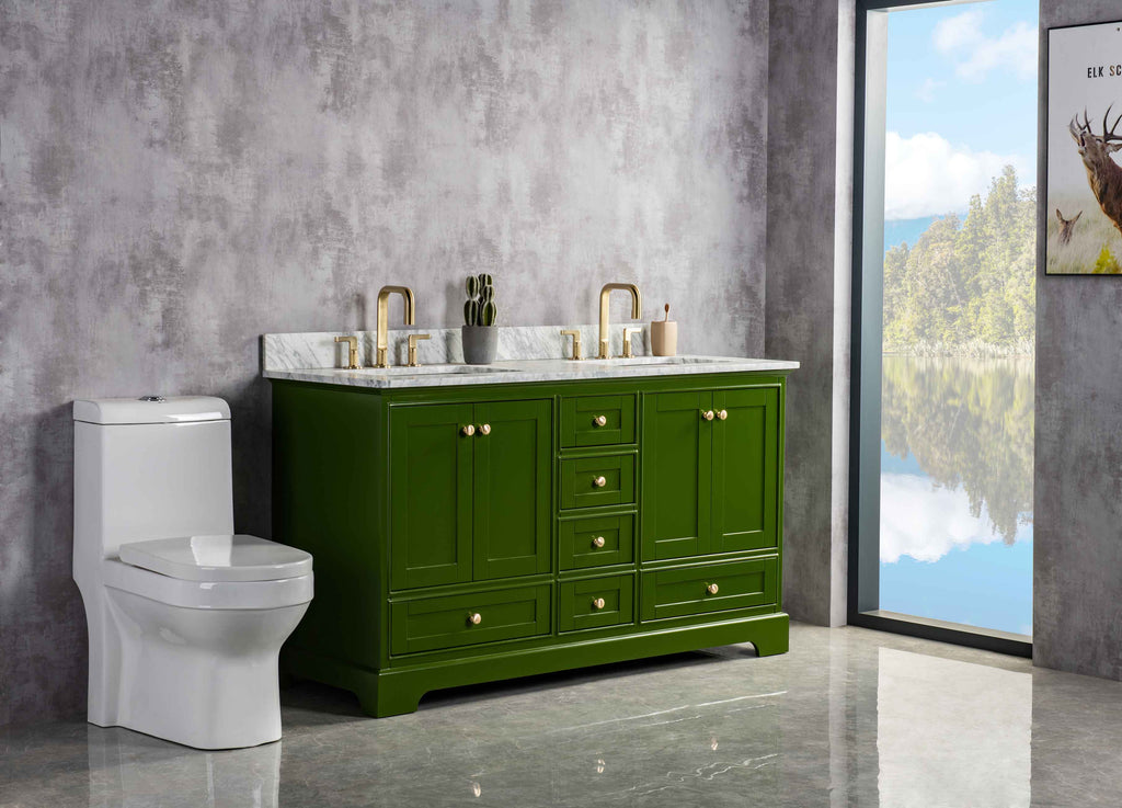 Rubeza 1500mm Charleston Vanity Unit with Carrara Marble Top - Green & Gold