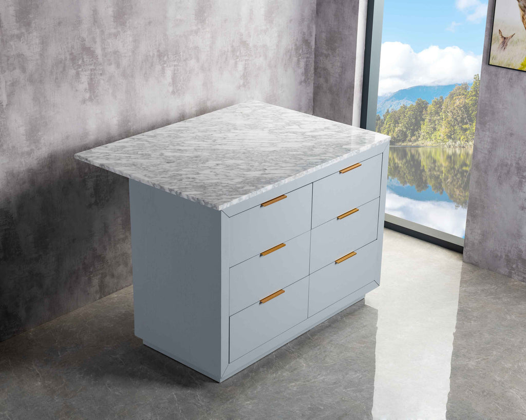 Rubeza Keily 1200mm Kitchen Island with Carrara Marble Top - Light Grey & Gold