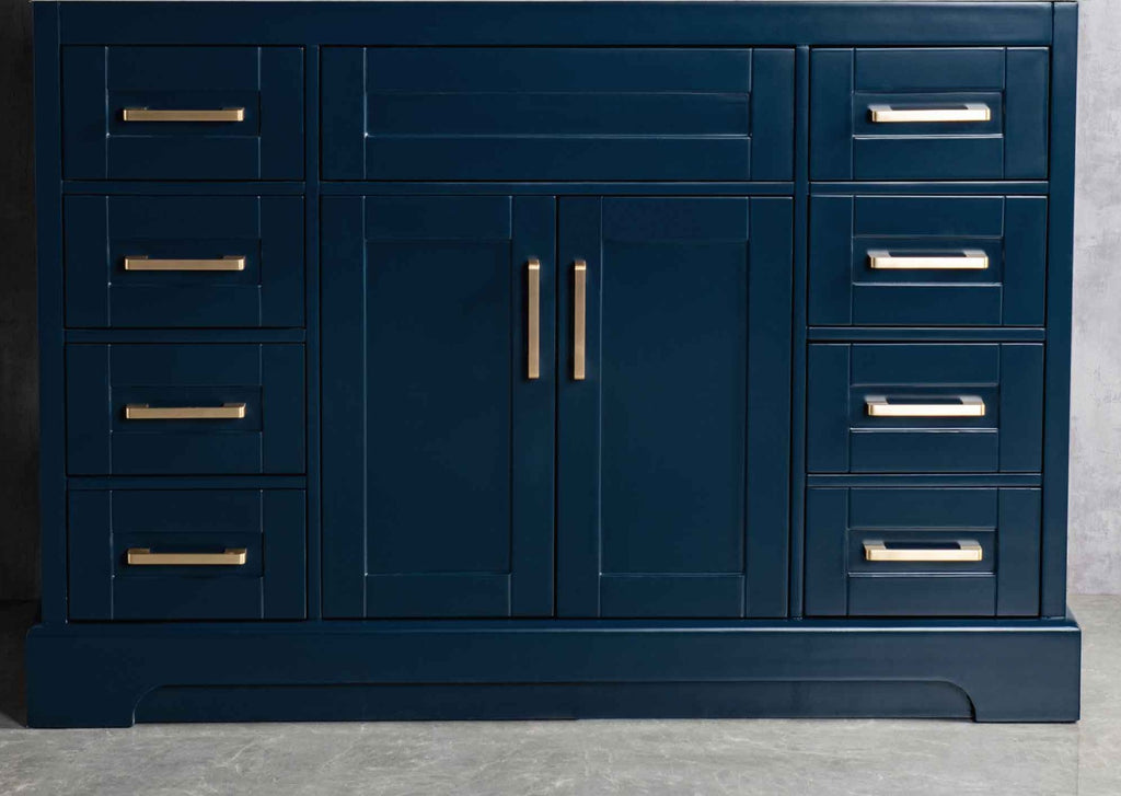 Rubeza Riley 1200mm Kitchen Island with Calacatta Quartz Top - Dark Blue & Gold