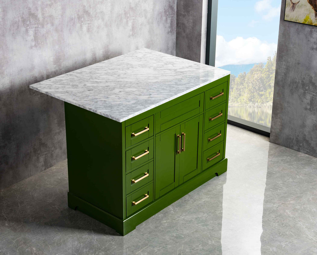 Rubeza Riley 1200mm Kitchen Island with Carrara Marble Top - Green & Gold