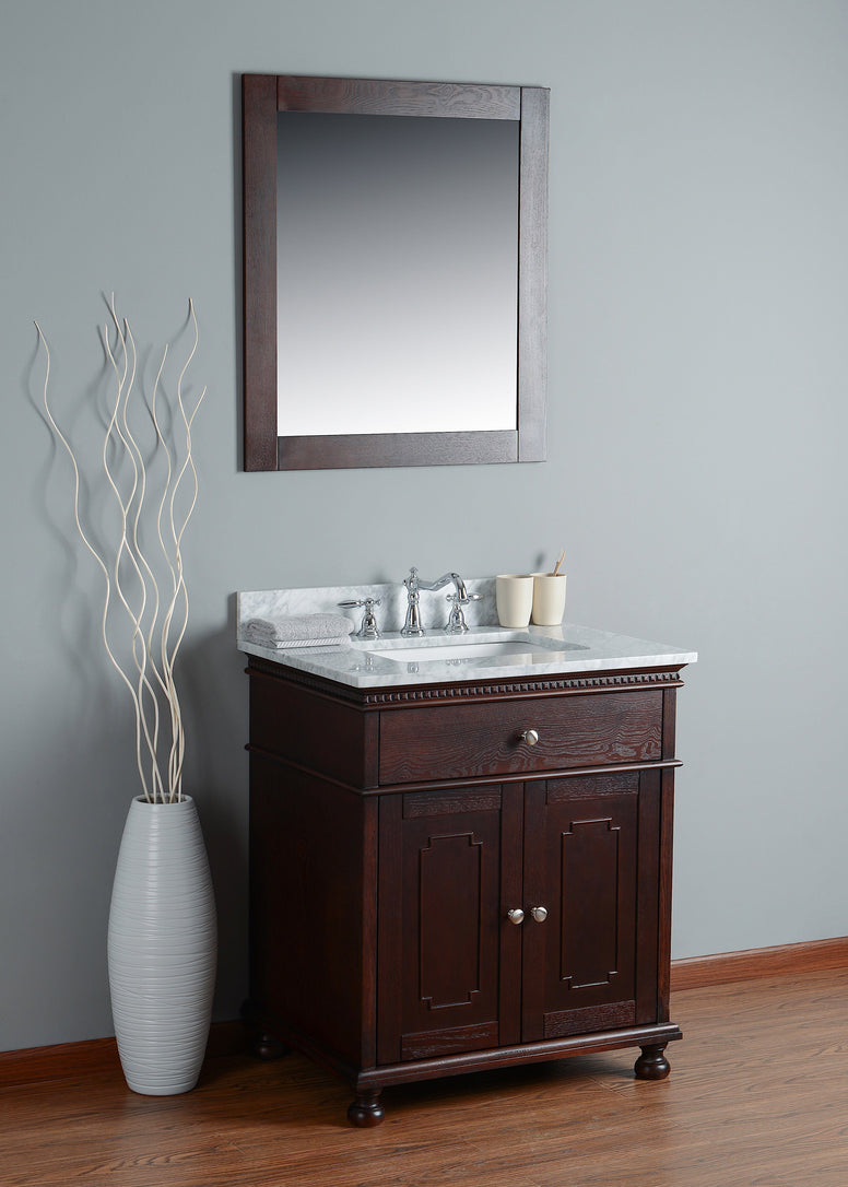 Rubeza 750mm Didim Bathroom Vanity, White italian Marble Carrara Top