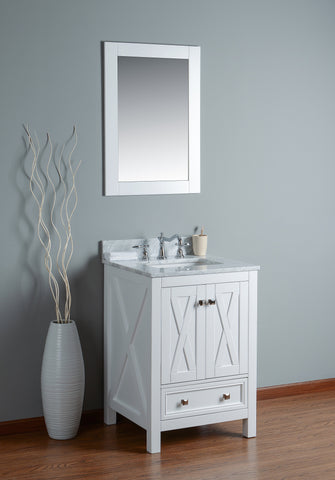 "Rubeza 24"" Brooklyn Bathroom Vanity White italian Marble Carrara Top - RUBEZA"
