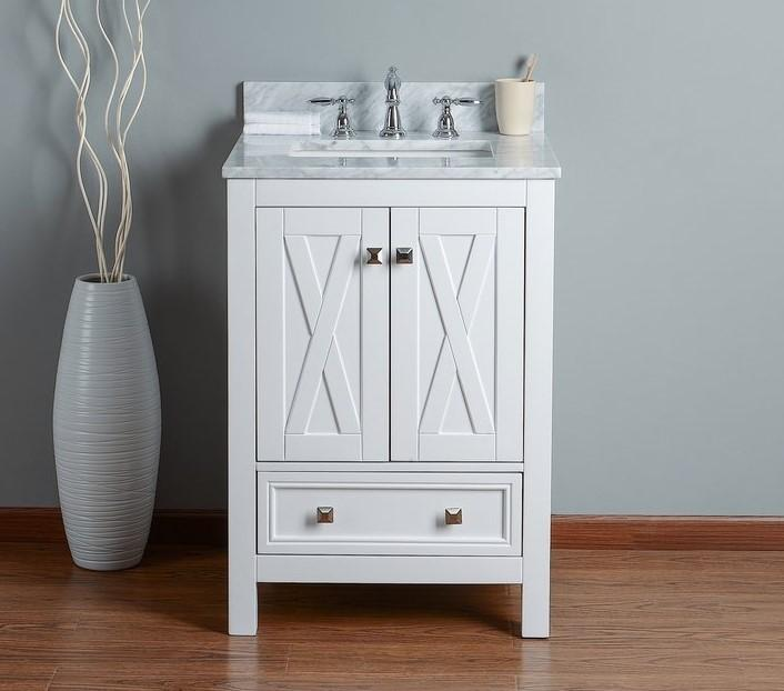 Rubeza 600mm Brooklyn Bathroom Vanity White italian Carrara Top