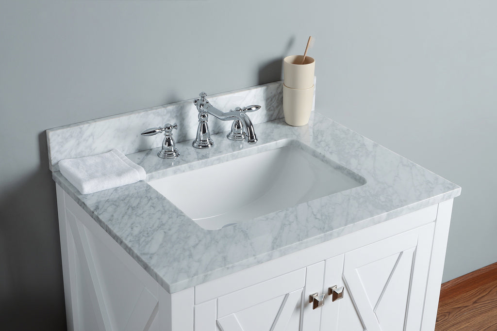 "Rubeza 30"" Brooklyn Bathroom Vanity Combo Set, White italian Marble Carrara Top - RUBEZA"
