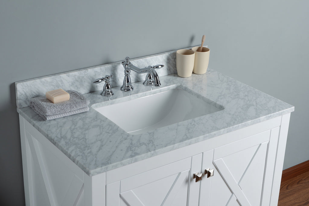 "Rubeza 36"" Brooklyn Bathroom Vanity Combo Set, White italian Marble Carrara Top - RUBEZA"