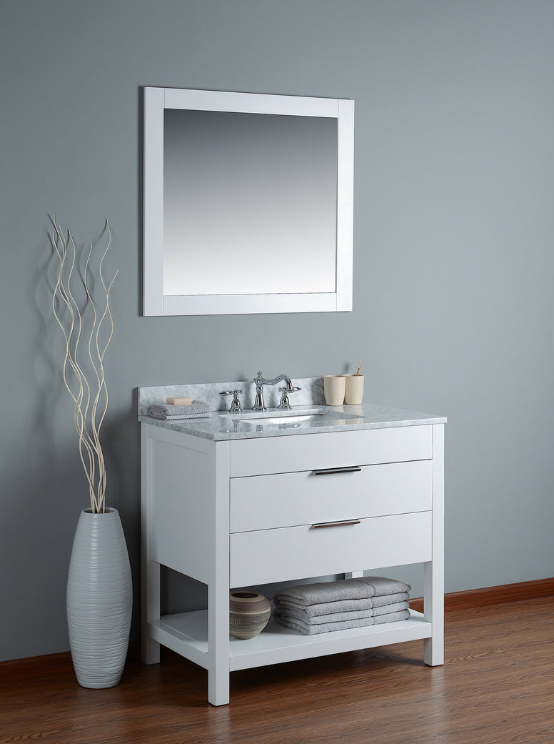 "Rubeza 36"" Georgia Bathroom Vanity  White italian Marble Carrara Top - RUBEZA"