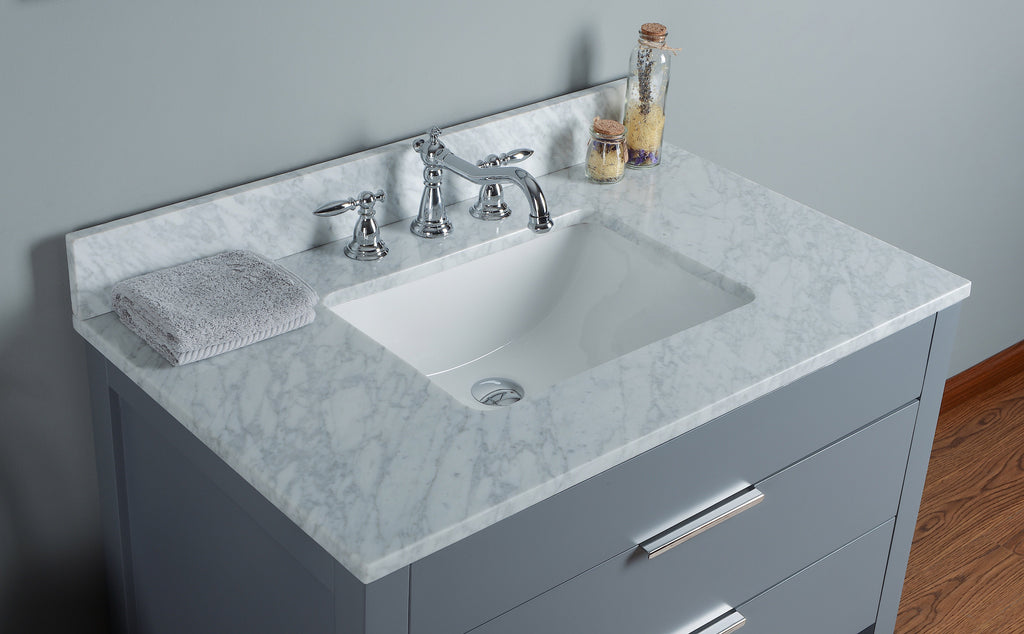 "Rubeza 36"" Symyrna Bathroom Vanity Set, White italian Marble Carrara Top - RUBEZA"