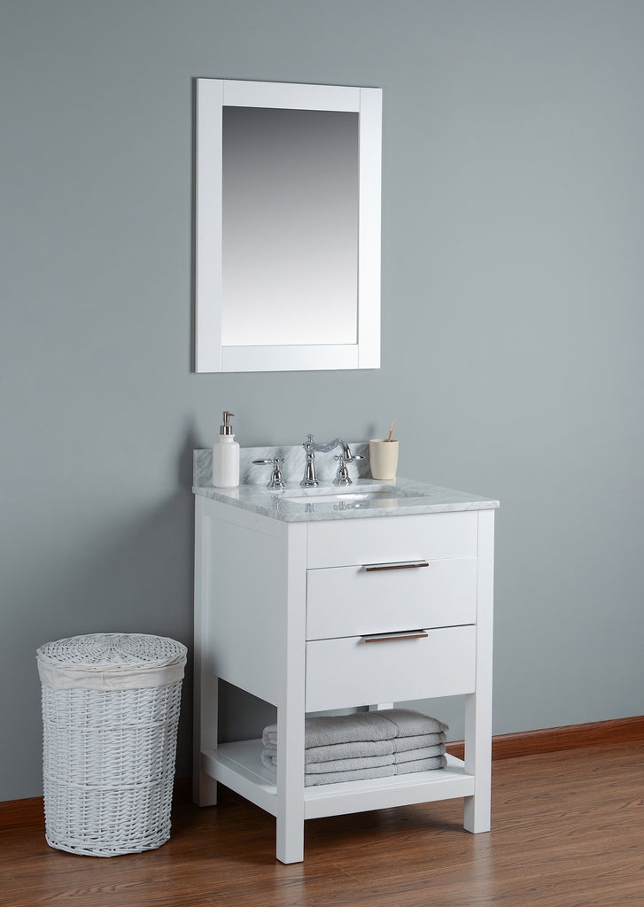 "Rubeza 24"" Georgia Bathroom Vanity White Italian Marble Carrara Top with Matching Mirror - RUBEZA"