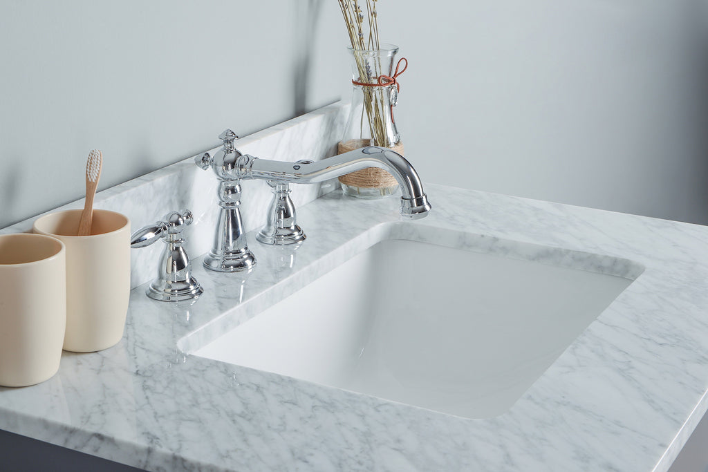 "Rubeza 30"" Symyrna Bathroom Vanity Set,White italian Marble Carrara Top - RUBEZA"