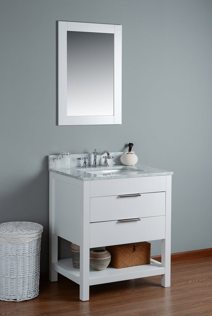"Rubeza 30"" Georgia Bathroom Vanity Combo Set,White Italian Marble Carrara Top - RUBEZA"