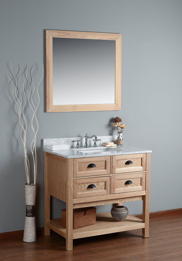 "Rubeza 36"" Allwood Bathroom Vanity Combo Set, White italian Marble Carrara Top - RUBEZA"