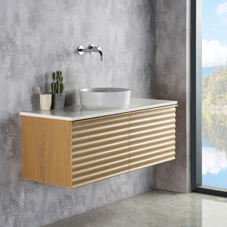 Rubeza  Famara 1200mm Wall Hung Vanity Unit - Wood Veneer