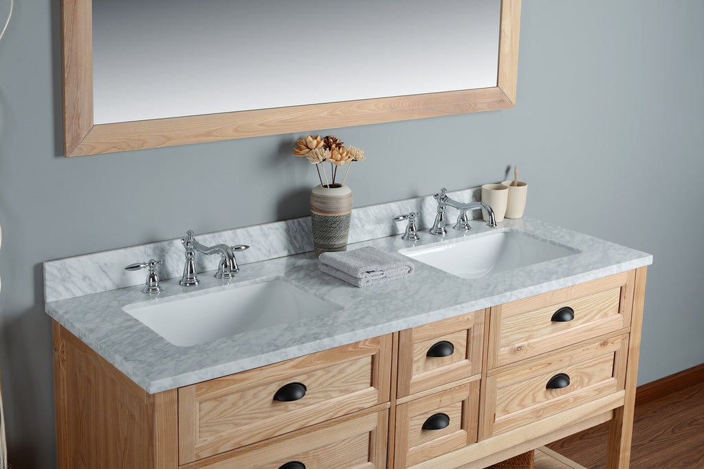 "Rubeza 60"" Allwood Bathroom Vanity Set, White italian Marble Carrara Top - RUBEZA"