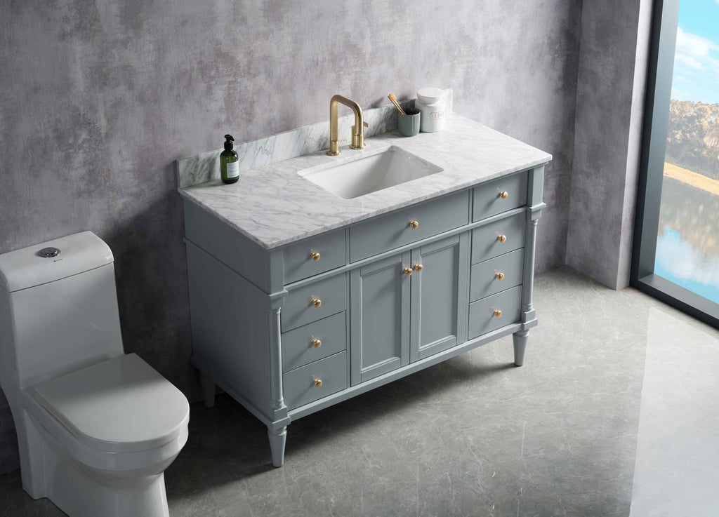 Rubeza 1200mm Isabella Vanity Unit , Carrara Marble Top - Light Grey & Gold