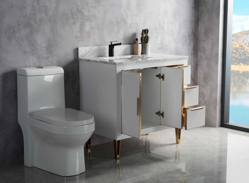 Rubeza 900mm Dukes Vanity Unit , Carrara Marble Top - White & Gold