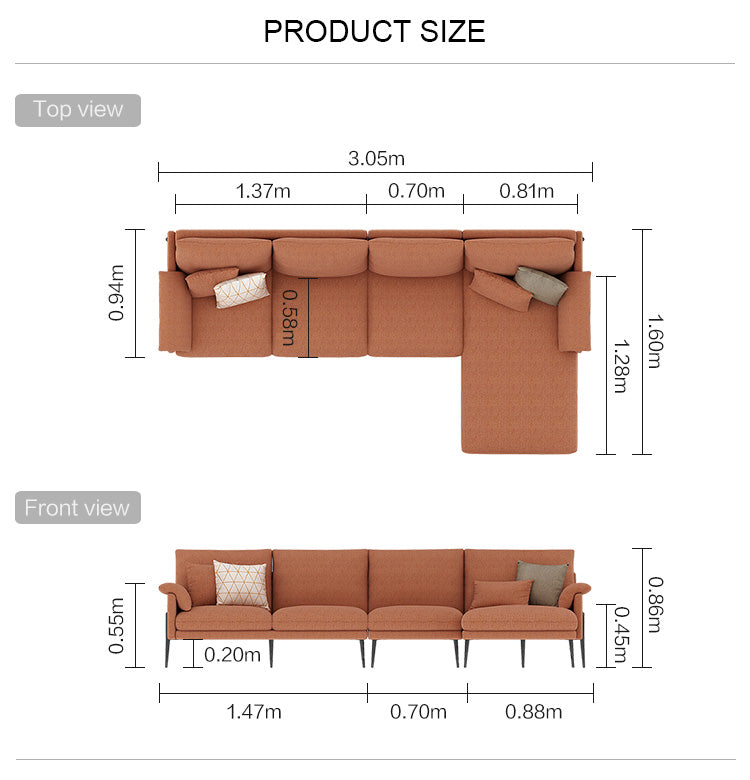 Rubeza Malibu Collection Big Left Hand Facing Corner Sofa- Copper Brown