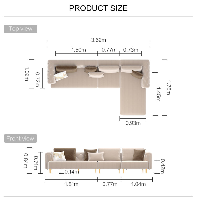 Rubeza Sofia Big Left Hand Warm-Sand Corner Sofa