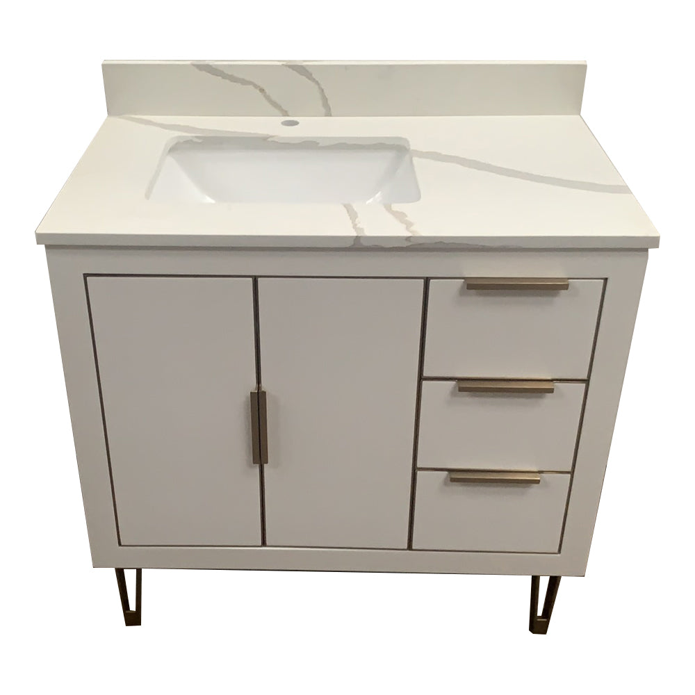 Rubeza 900mm Dukes Vanity Unit , Calacatta Quartz Top - White & Gold
