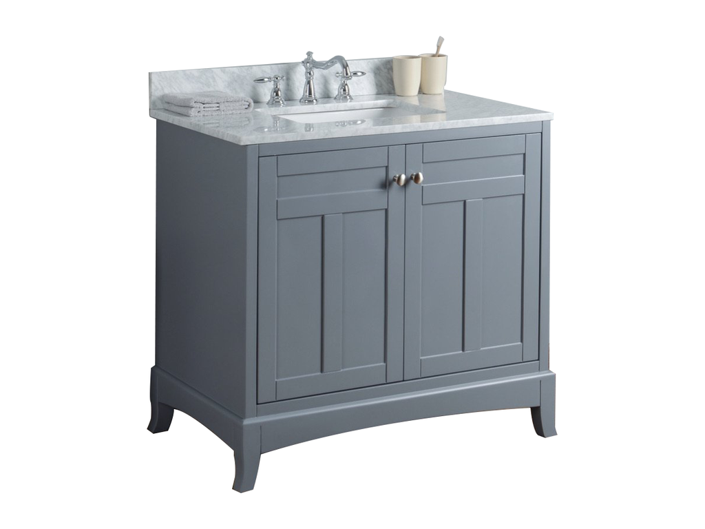 Rubeza Pergamum 900mm Bathroom Vanity with Carrara Marble Top - Chorchoal & Chrome