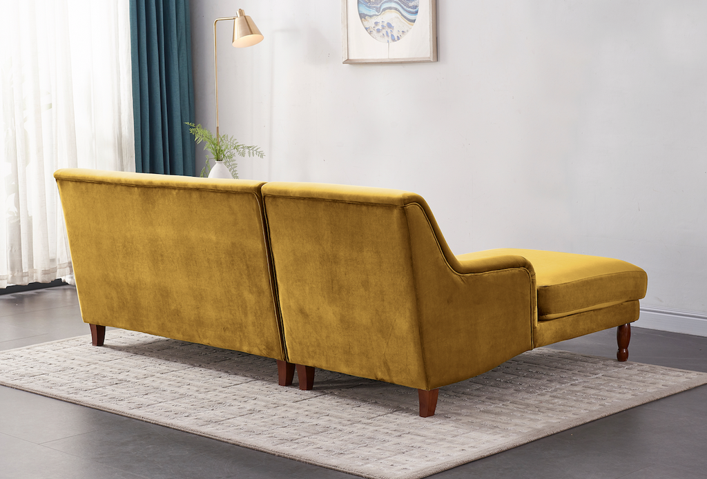 Rubeza Enise Collection Left Hand Facing Corner Sofa - Gold