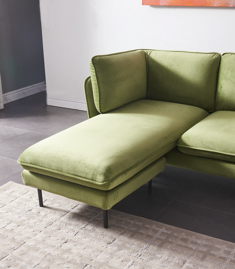 Rubeza Wes Collection Left Hand Facing Chaise End Corner Sofa  - Grass Green