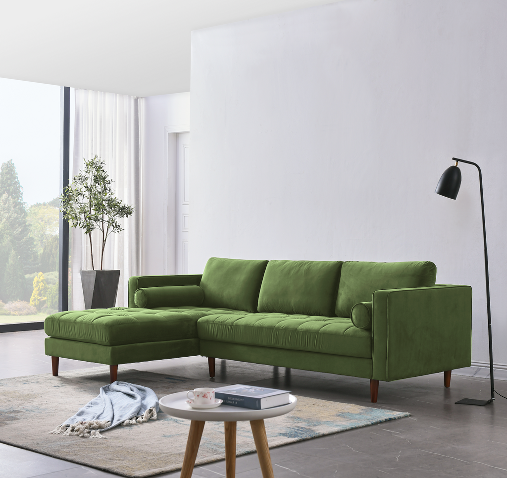 Rubeza Scott 4 Seater Left Hand Facing Chaise End Corner Sofa , Grass Green - 1807LM07341LL
