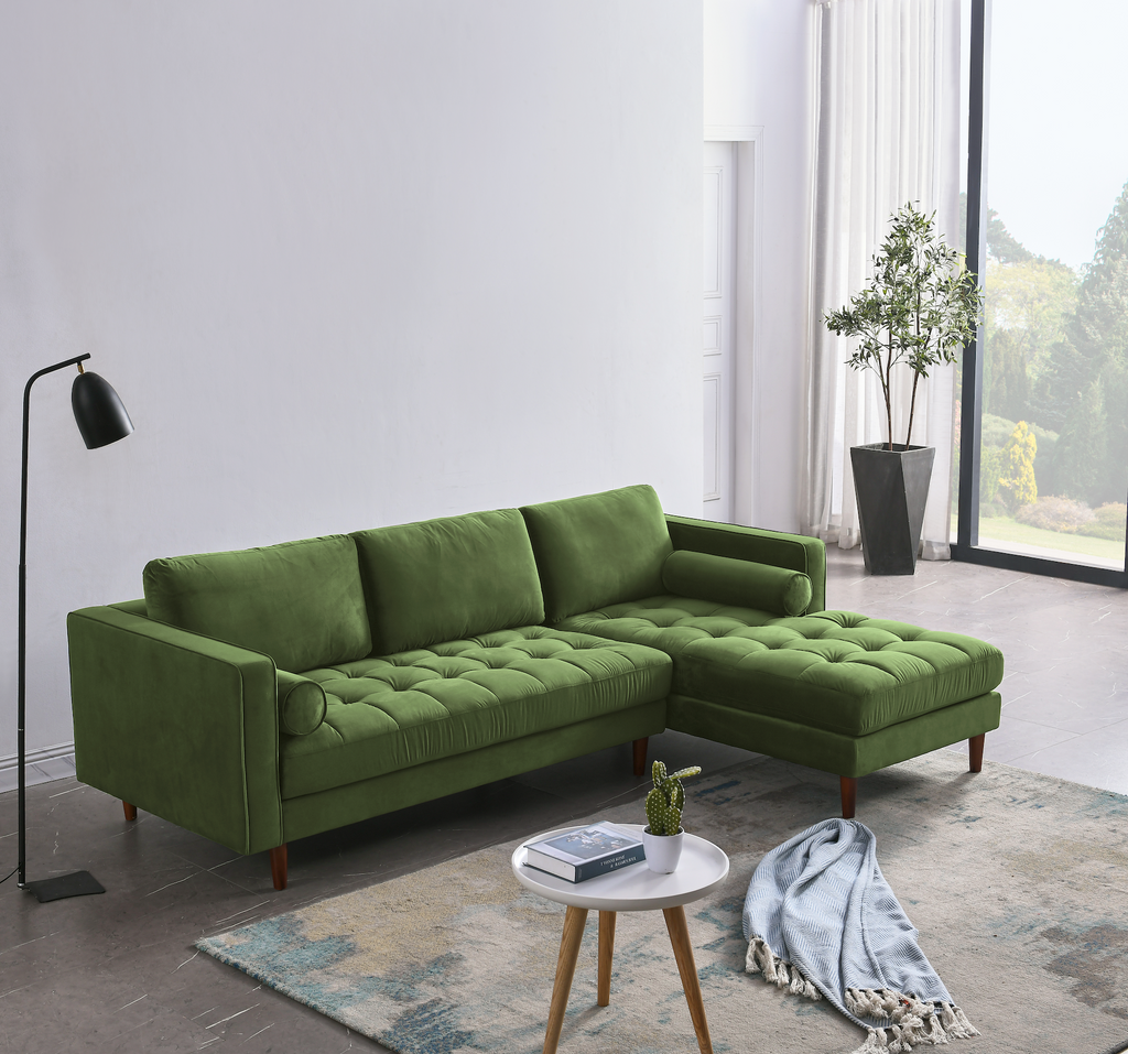 Rubeza Scott 4 Seater Right Hand Facing Chaise End Corner Sofa , Grass Green - 1807LM07341LR