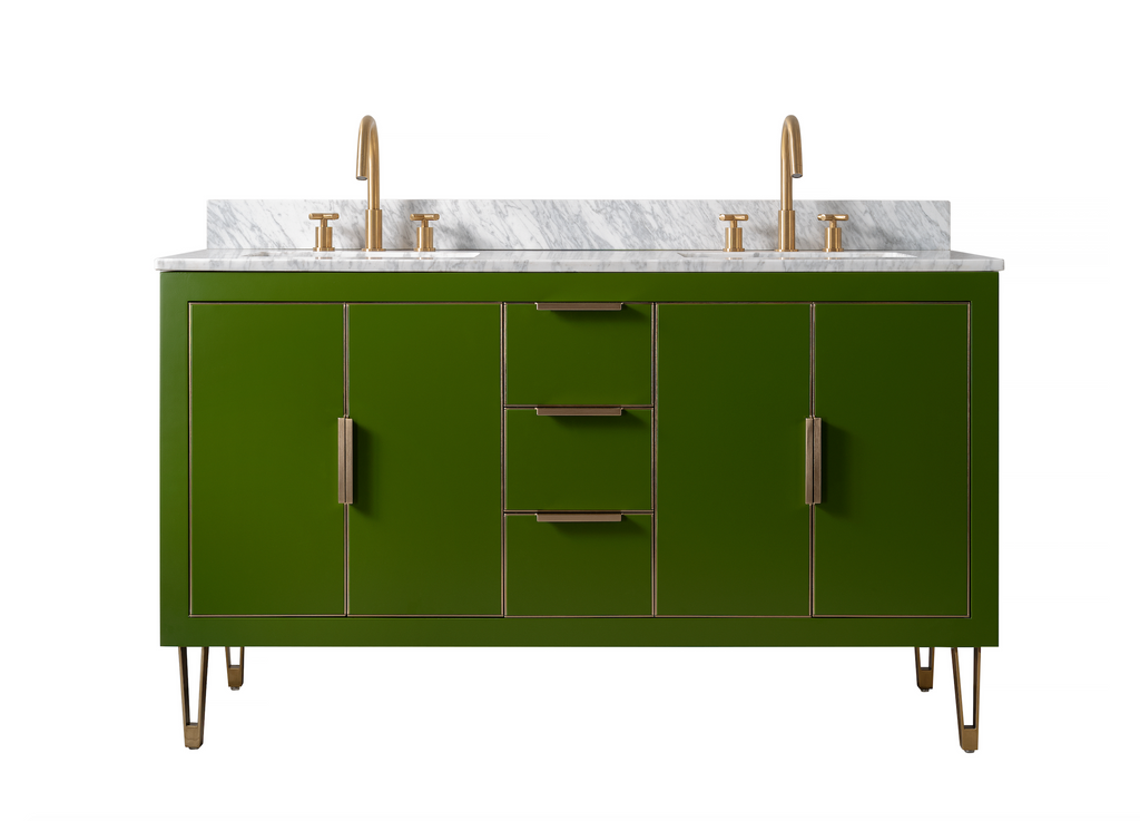 1500mm Rubeza Dukes Double Vanity Unit With Carrara Marble Top - Grass Green & Gold