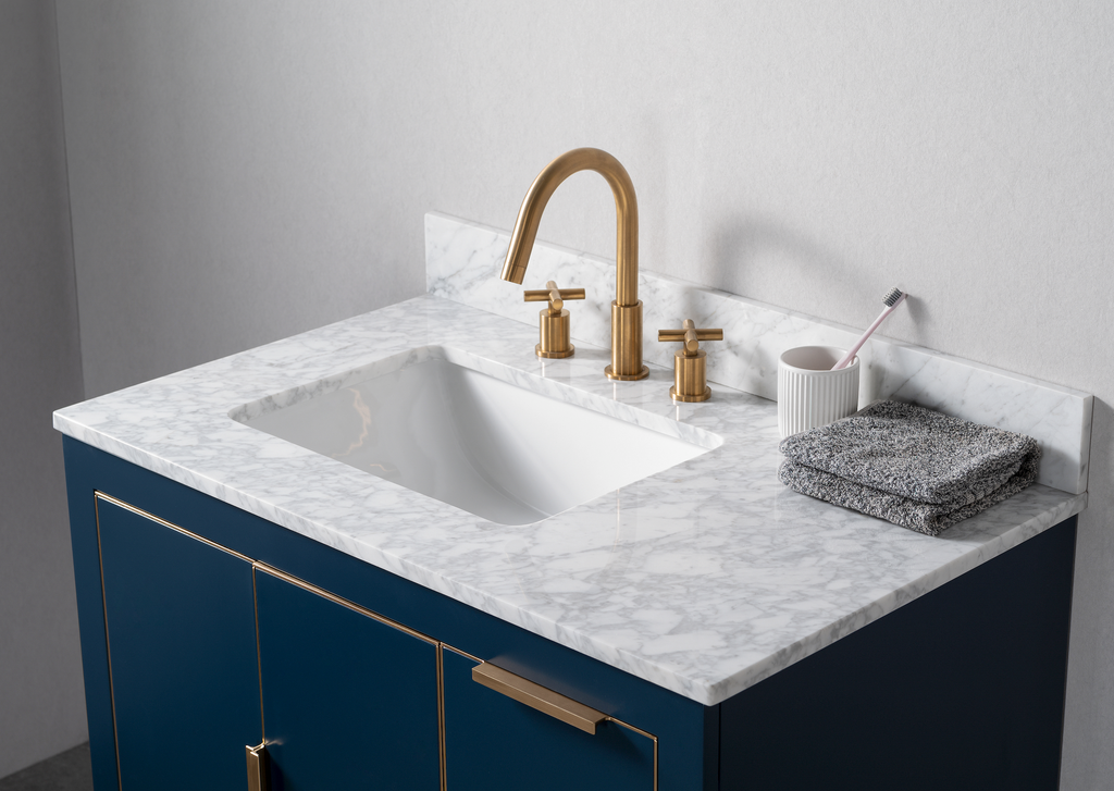 Rubeza 900mm Dukes Vanity Unit With Carrara Marble Top - Blue