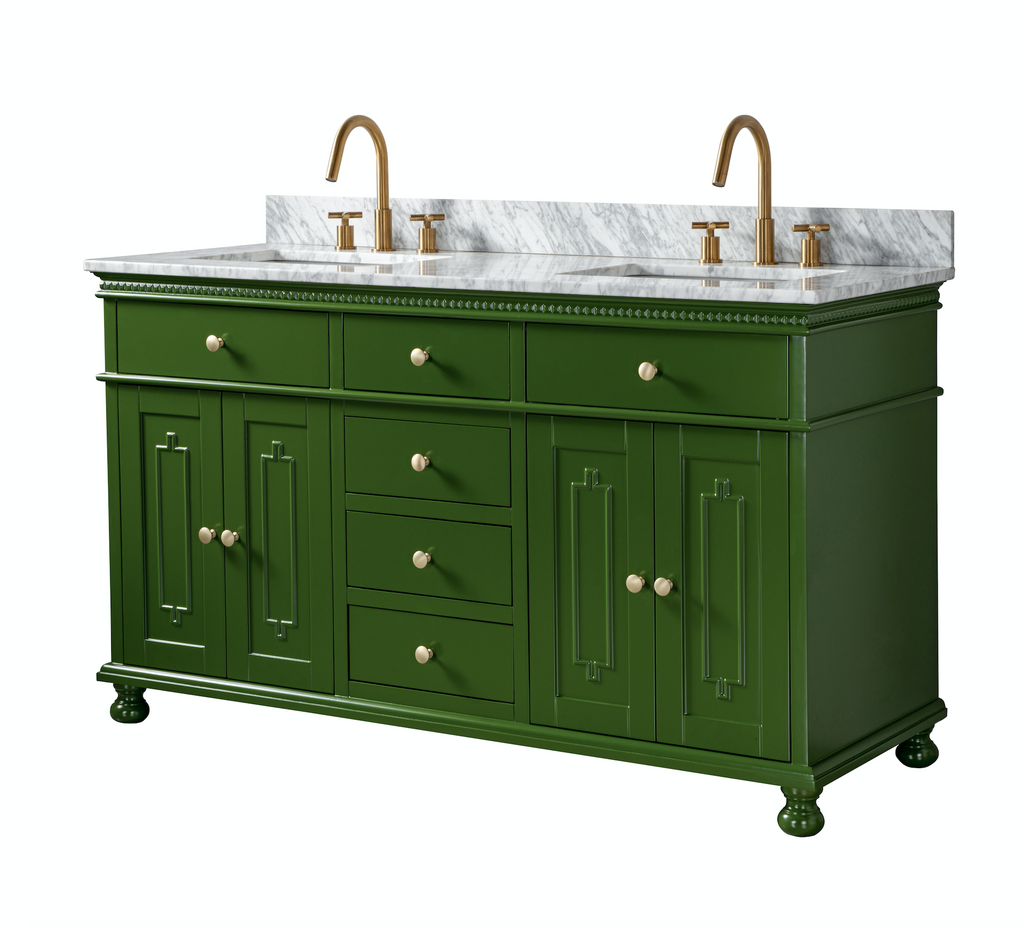 Rubeza 1500mm Double Sink Didim Vanity Unit Carrara Marble Top - Green Gold