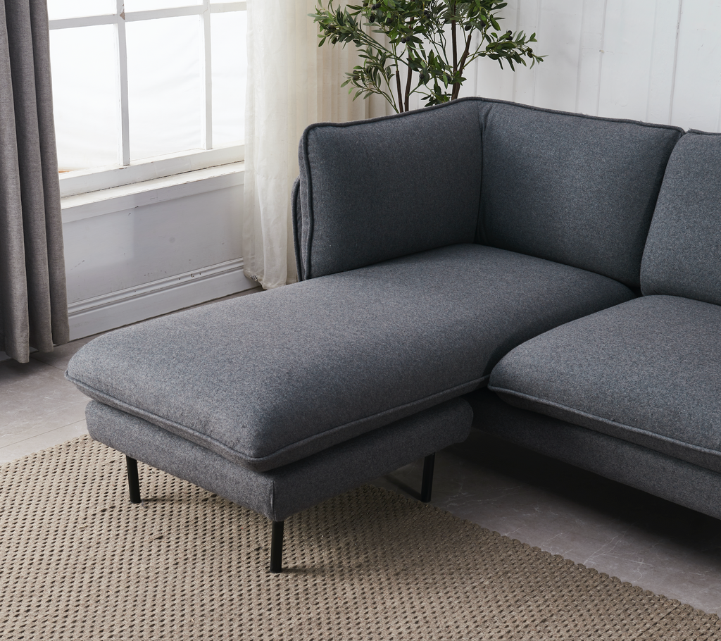 Rubeza Wes Collection Left Hand Facing Chaise End Corner Sofa - Grey