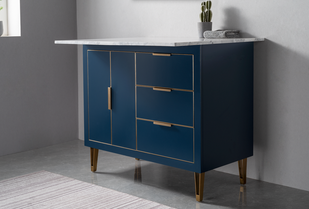 Rubeza Dukes 1100mm Kitchen Island with 2cm Carrara Marble Top - Dark Blue