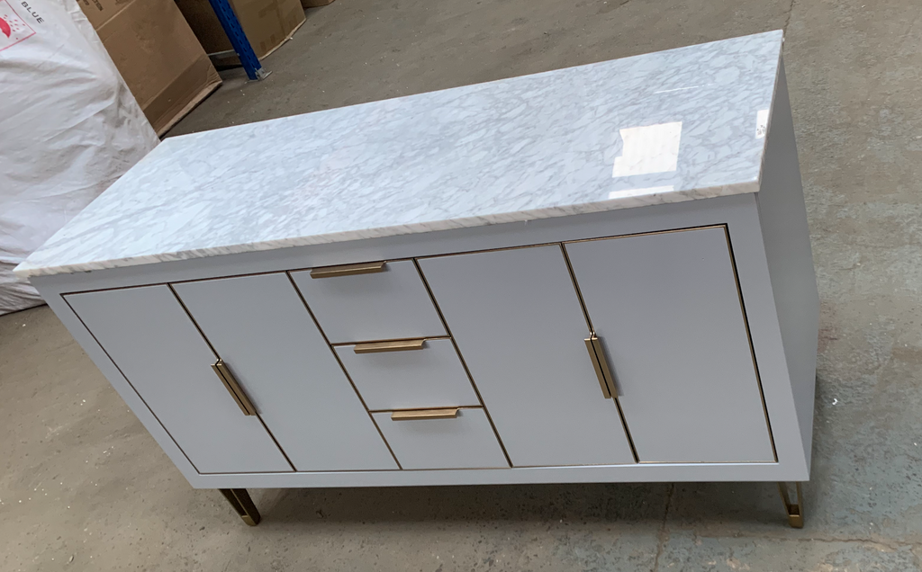 Rubeza 1500mm Dukes Sideboard with Marble Top - Light Grey