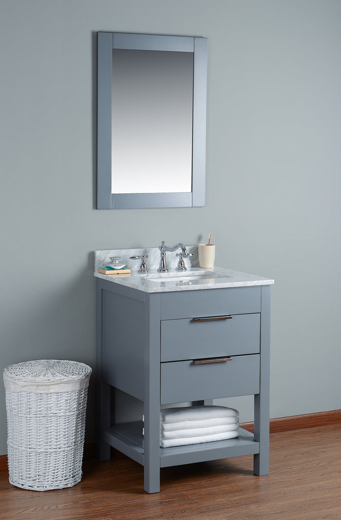 "Rubeza 24"" Symyrna Bathroom Vanity Set, White italian Marble Carrara Top - RUBEZA"